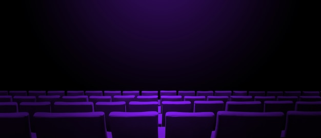 Кинотеатр кинотеатр с фиолетовыми рядами сидений и черной копией пространства