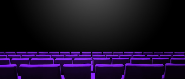 보라색 좌석 행과 검은 색 복사 공간 표면이있는 시네마 영화관