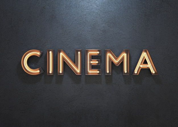 Cinema neon sign on dark background
