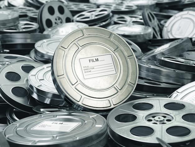映画館または映画のコンセプトビデオリールの背景フィルムコレクション3d
