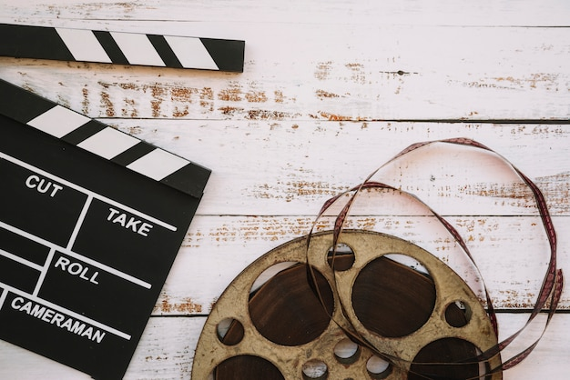 Cinema reel with a clapperboard
