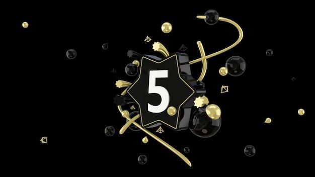 星と5番の黒のシネマレンダリング
