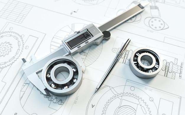 建設計画を構築するためのベアリングを備えた要約のシネマレンダリング