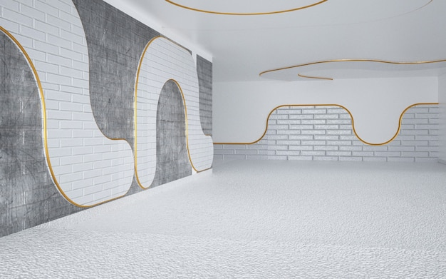 Cinema rendering of white room with gold lines for display mockup