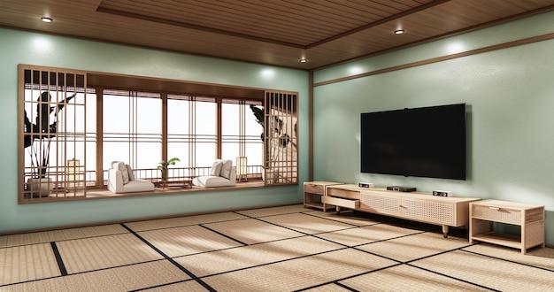 Кинозал минимальный дизайн в японском стиле, мятный зал