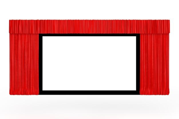 흰색 배경에 열린 빨간 커튼이 있는 영화 화면. 3d 렌더링