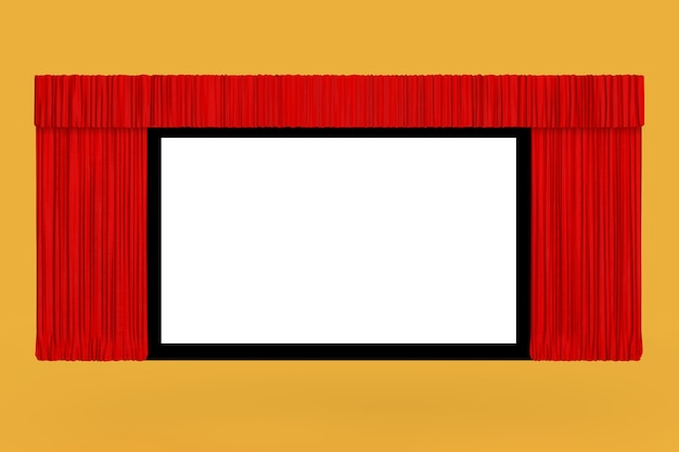 Cinema screen with open red curtain on a yellow background. 3d rendering