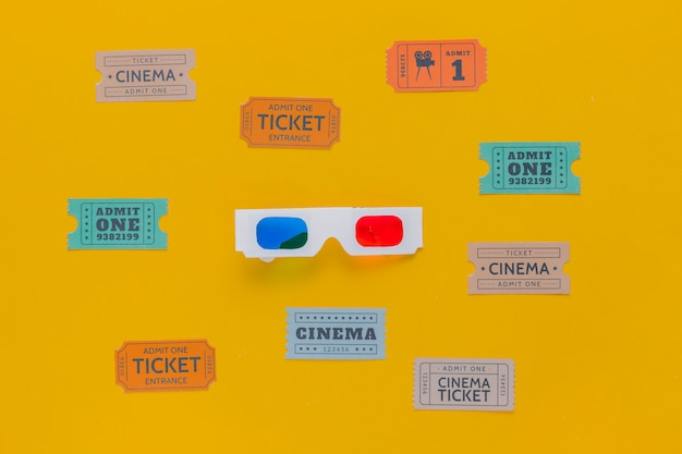 Cinema tickets and 3d glasses