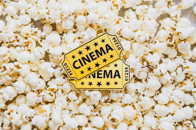 Cinema tickets on crispy popcorn