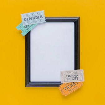Cinema tickets with a frame