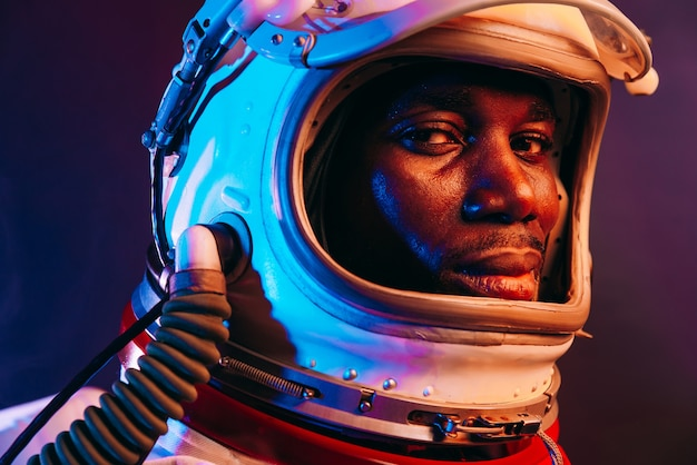 Cinematic image of an astronaut colorful portrait of a man with spacesuit