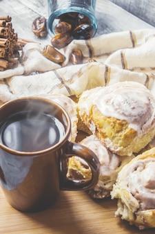 Cinnabon cinnamon and cream for tea. selective focus.
