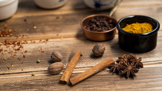 Cinnamon and anise near spices