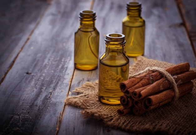 Cinnamon essential oil in small bottles