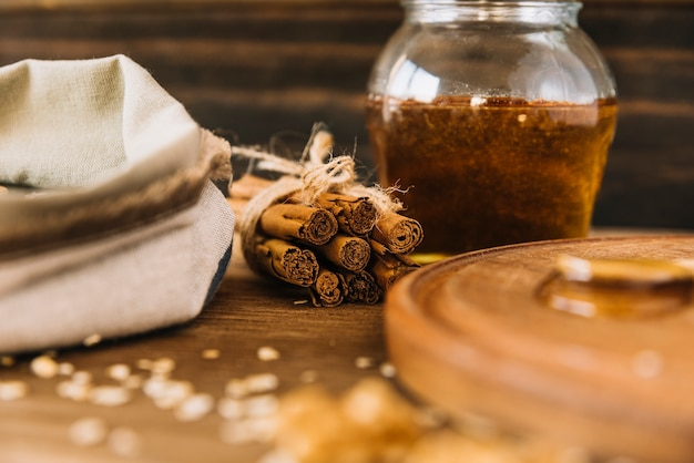 Cinnamon and jar of honey