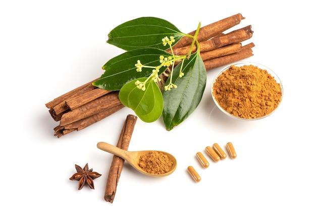 シナモンまたはカッシアの樹皮、粉末、カプセル、花、白で隔離される緑の葉