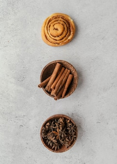 Cinnamon roll, sticks and spices