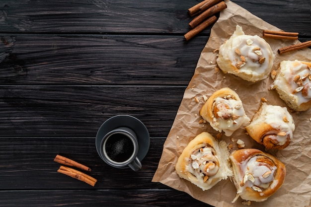 Cinnamon rolls and coffee top view