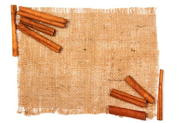 Cinnamon on sackcloth