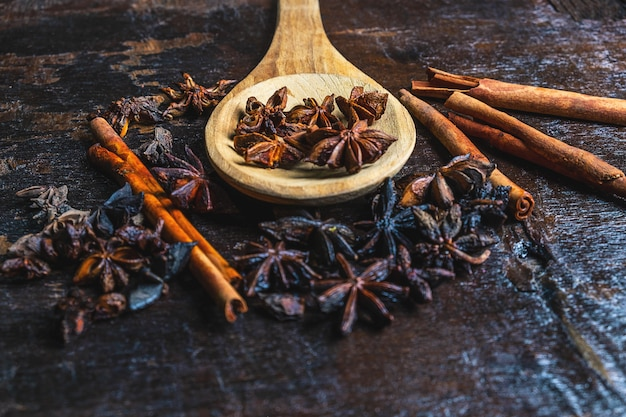 Cinnamon spices and star anise used in cooking
