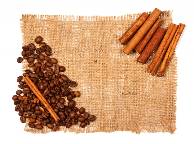 Cinnamon stick and coffee beans
