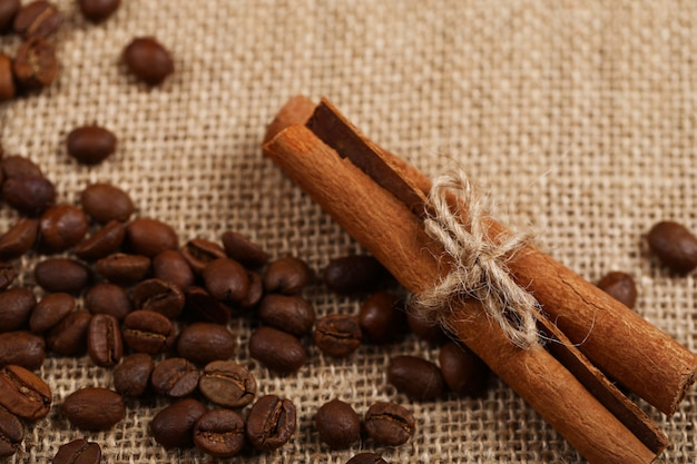 Cinnamon sticks and coffee beans on a piece of burlap.
