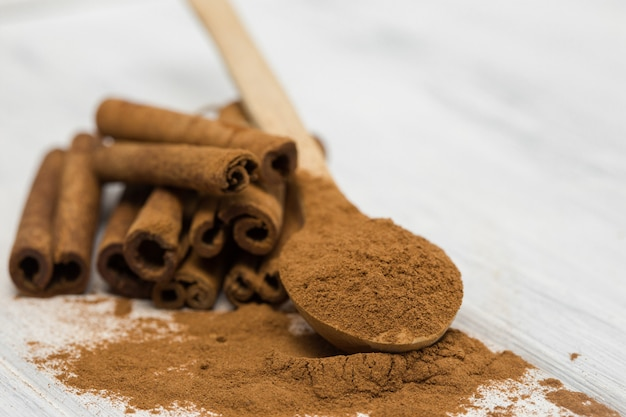 Cinnamon sticks on gray stone wall. true cinnamon sticks or ceylon cinnamon with copy space for text or design