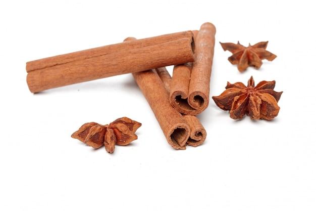 Cinnamon sticks isolated on white