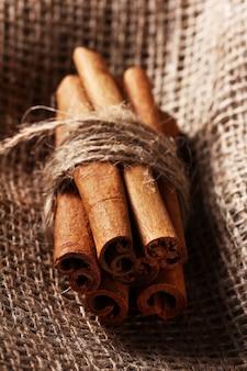 Cinnamon sticks on sack cloth