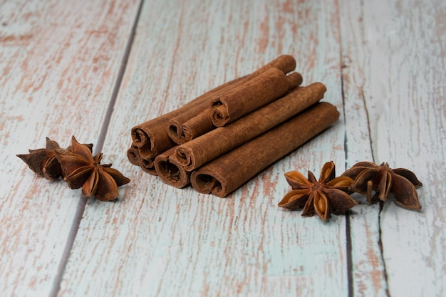 Cinnamon sticks and star anise on the table