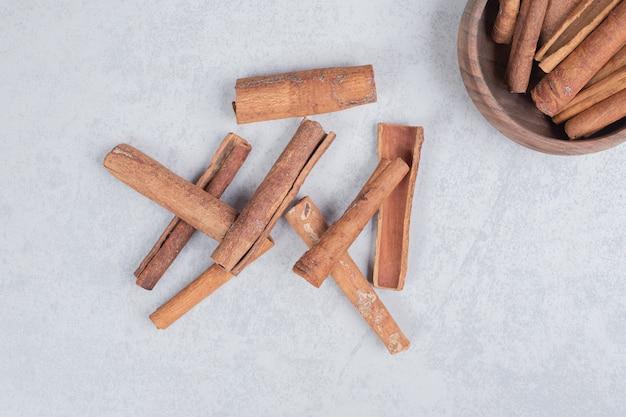 Cinnamon sticks on white background.