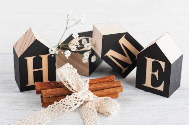 Cinnamon and wooden letter hmeo