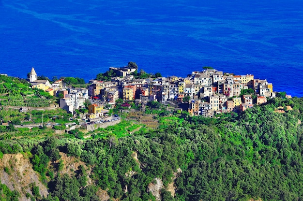 Чинкве-терре, знаменитый национальный парк в лигурии, италия.