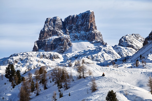 Cinque terre mountains in snow