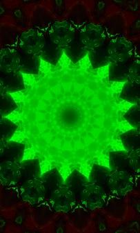 원형 배경, 아나하타 차크라의 밝은 녹색 만다라. 세로 이미지.