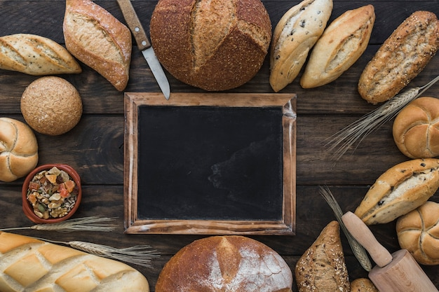 Circle of bakery with blackboard