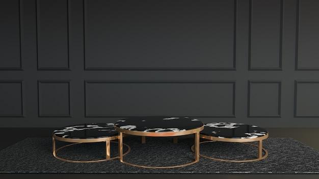 서클 블랙 화이트 대리석 황금 금속 테이블 스탠드 블랙 화이트 방의 어두운 카펫에 배치