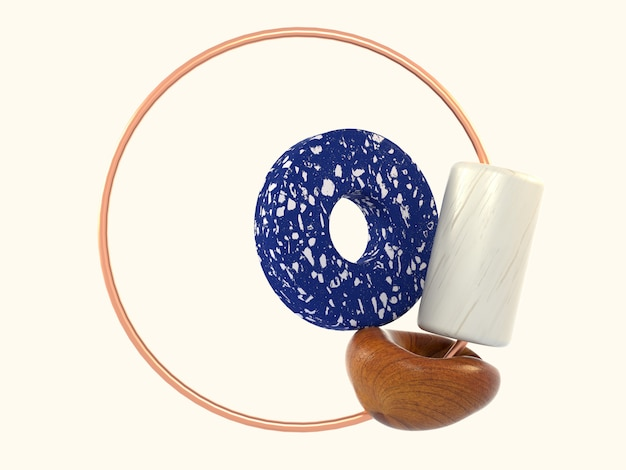 Circle blue marble white cylinder abstract shape wood circle copper frame 3d rendering