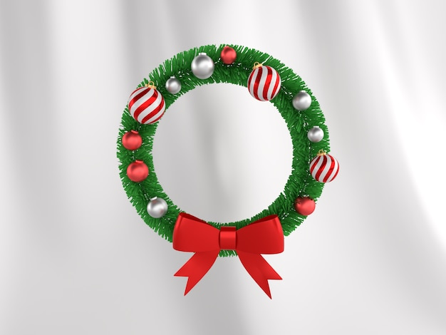 Circle decoration frame from christmas tree branches with a red ball in white wall. 3d illustration image
