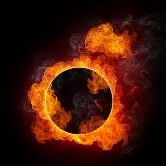 Circle frame on fire background