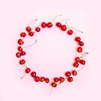 Circle frame made of sweet cherries