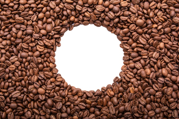 Circle frame of roasted coffee beans isolated on white may use as background or texture
