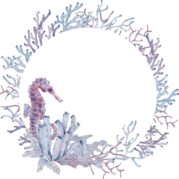 Circle frame of seaweed, seahorse and corals. hand-drawn watercolor illustration. underwater template.
