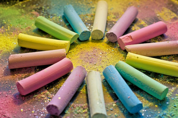 Circle from colorful chalk
