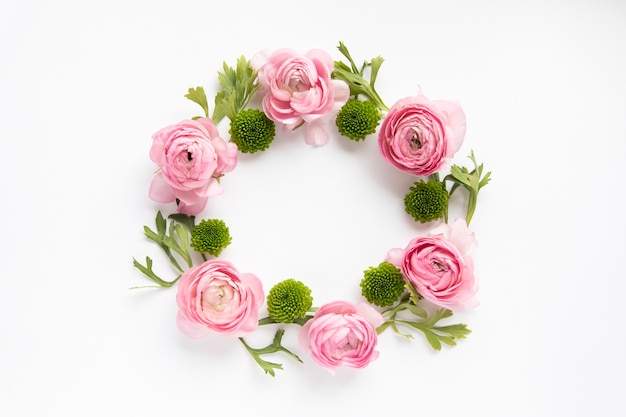 Circle from peonies and succulents
