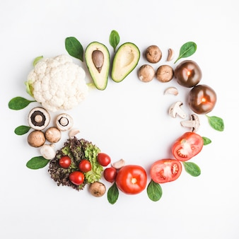 Circle from vegetables and herbs