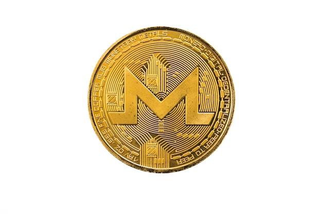 Монета золотой круг монерд, изолированные на белом фоне