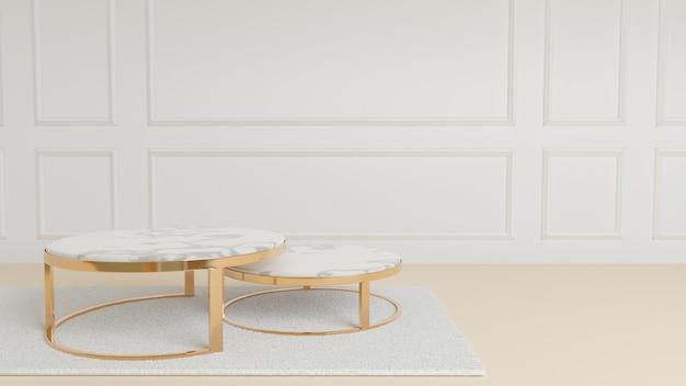따뜻한 흰색 방의 흰색 카펫 위에 놓을 원형 대리석 황금 금속 테이블 스탠드