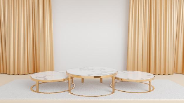따뜻한 흰색 방에 금색 커튼이 달린 흰색 카펫 위에 원형 대리석 황금색 금속 테이블 스탠드