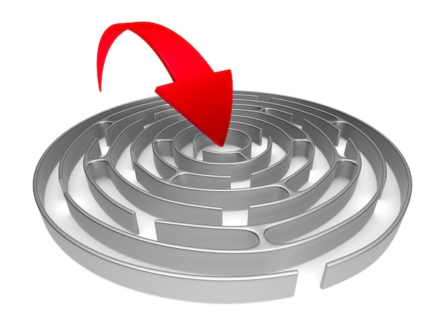 Circle maze and arrow on white background. isolated 3d illustration